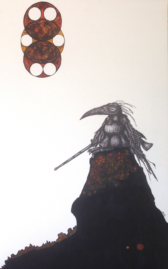 Kendo I (2015): ink and water colour